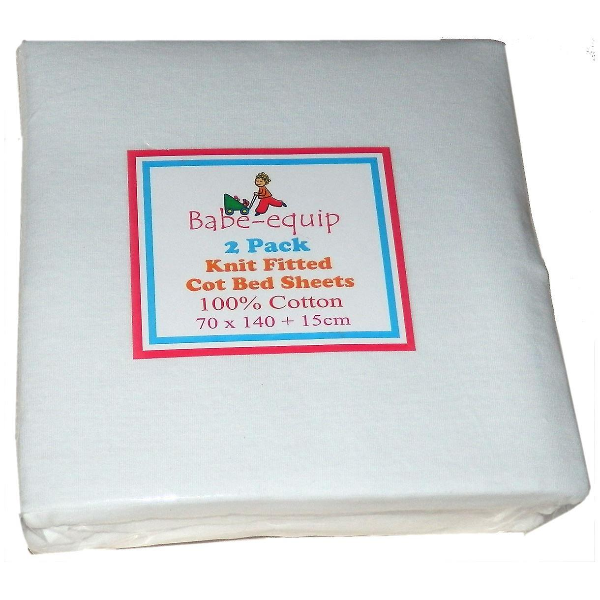 Pack of two fitted Jersey Cot Sheets White 100% Cotton