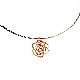 Gemshine kvinners halskjede anheng 925 sølv belagt blomst rose art deco