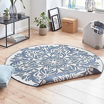 Turning carpet round Madrid blue cream in - & outdoor