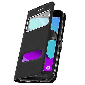 Dubbel venster Omklappen staande case voor Samsung Galaxy Xcover 4, TPU shell - zwart