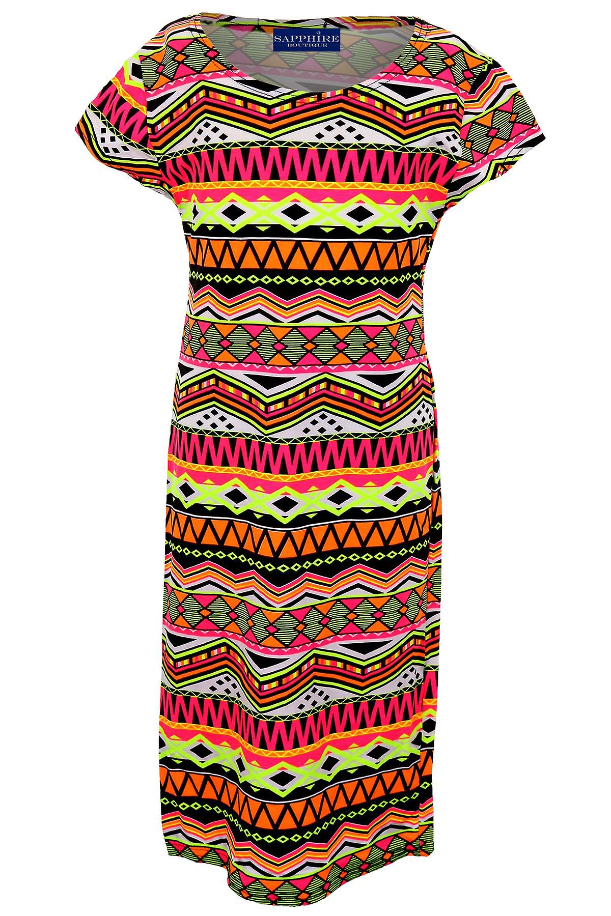 Lasten Cap Sleeve valoisa Neon sarjakuva kukka Funky tulosta tytöt asennettu mekko