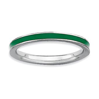 925 Sterling Silver Polished Rhodium-plated Stackable Expressions Green Enameled 2.25mm Ring - Ring Size: 5 to 10