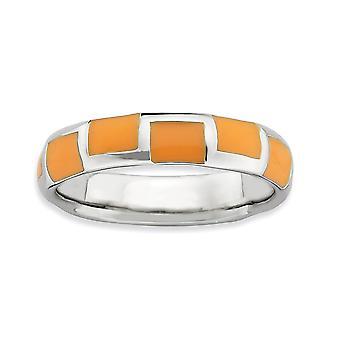 925 Sterling Silber Rhodium vergoldet stapelbare Ausdrücke poliert Orange emaillierte Ring Schmuck Geschenke für Frauen - Ring Si