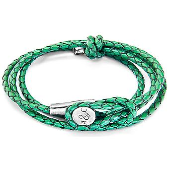 Anchor and Crew Dundee Silver and Leather Bracelet - Fern Green
