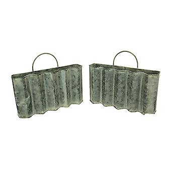 Distressed Finish Metal Corrugated Pocket Wall Hanging Set of 2