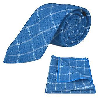 Azure Blue Birdseye Check Krawatte & Einstecktuch Satz