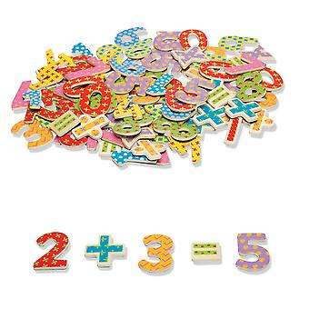 Tidlo Wooden Educational Magnetic Numbers and Symbols (100 Piece) Math