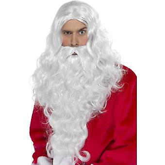 Smiffy's Long Curly Wig, Santa Long Wig With Beard