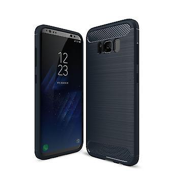 Samsung Galaxy S8 TPU caso carbono fibra óptica escovado azul caixa protetora