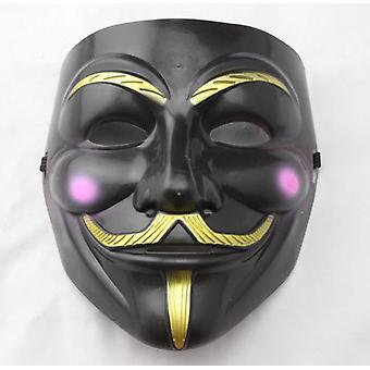 Masque de visage anonyme Guy Fawkes-noir-rouge