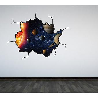 اللون كامل النظام الشمسي جدار متصدع ملصقا