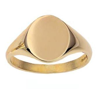 9ct Gold 14x12mm solid plain oval Signet Ring Size Z