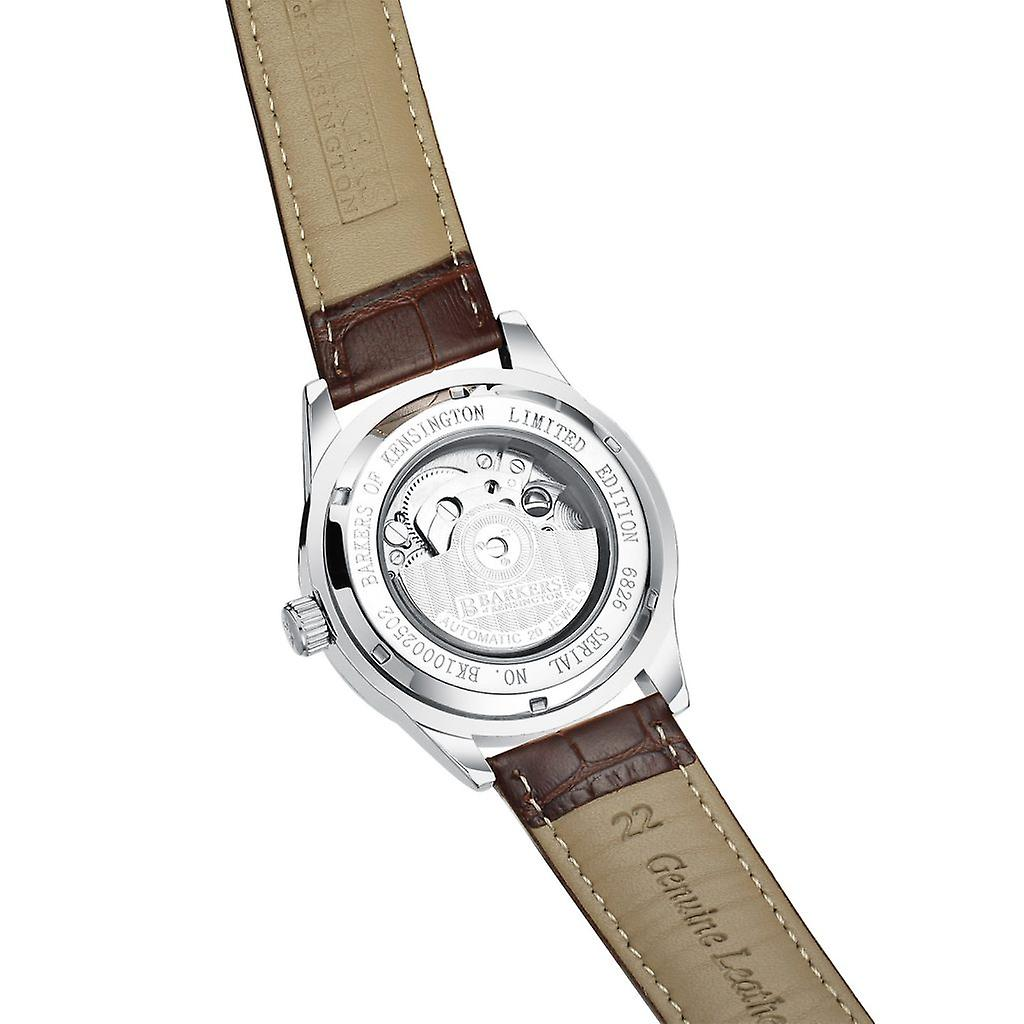 Barkers of Kensington Automatic Steel Mens Watch with Brown Leather Strap