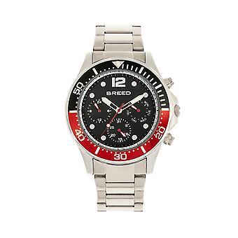 Breed Pegasus Bracelet Watch w/Day/Date - Red/Silver