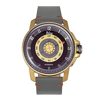 Reign Monarch Automatic Domed Leather-Band Watch - Gold/Grey