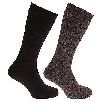 Mens thermische wol mix lange lengte sokken (Pack van 2)