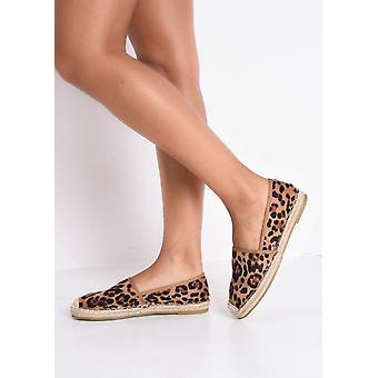 Gamuza leopardo alpargatas planas impresión Multi