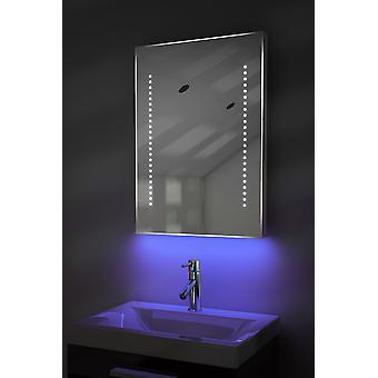 Ambiant ultra-mince LED salle de bain miroir avec Pad dévésiculeur & K10T capteur