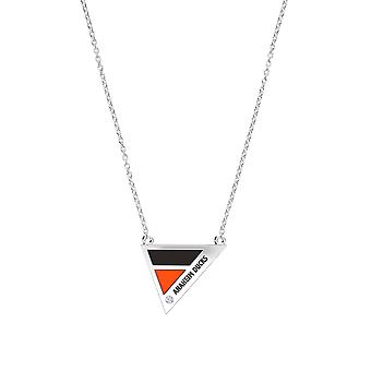Anaheim Ducks Engraved Sterling Silver Diamond Geometric In Necklace Black and Orange