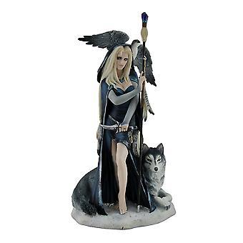 Arcana the Shaman by Ruth Thompson Medicine Woman w/Grey Wolf & Falcon Statue