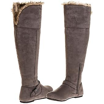 Sara Z Ladies Over the Knee Microsuede Fur Lined Boot