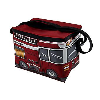 Red Fire Engine Nylon Ladder Truck Insulated Lunch Tote