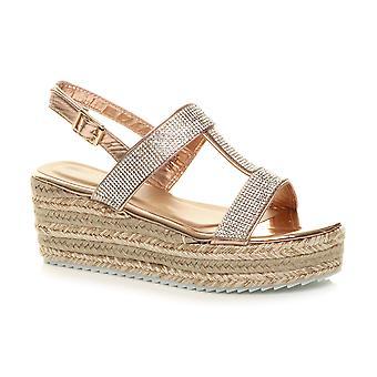 Ajvani Womens kile hæl strappy platform Diamante espadrille flatform sandaler