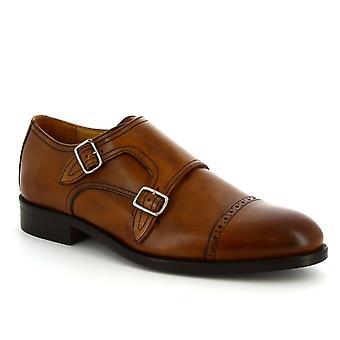 Leonardo Schuhe Herren handgemachte Doppel Mönche Loafers Schuhe aus braunen Kalbsleder