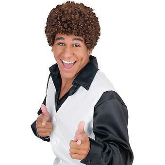 Jheri Curl Dark Brown Wig For Men - 17871