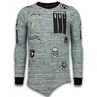 Longfit Broderie asymétrique-Sweater Patches-US Army-Green