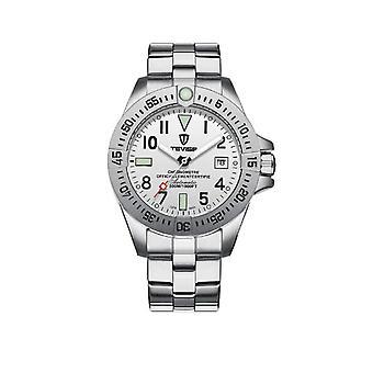 Tevise Mens Homage automatikus mechanikai Watch fehér ezüst intelligens órák T839