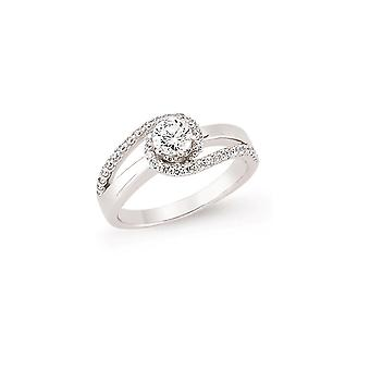 Jewelco London Rhodium Plated Silver Round Brilliant Cubic Zirconia Whirlpool Tornado Solitaire Engagement Ring