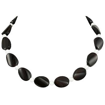 Eternal Collection Silhouette Black Agate And White Jade Semi Precious Beaded Necklace