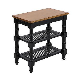 Nostalgic oak seneca falls accent table in black with nostaligic oak top stein world