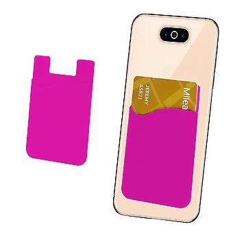 Silicone Credit / Debit Card Pouch For Swipe Virtue Device Wallet Holder Stick On Adhesive (Pink)
