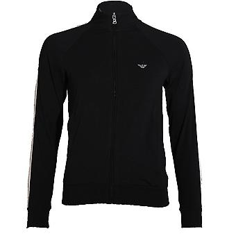 Emporio Armani Women Visibility Sparkle Logo Full Zip Jacket, Black, X-Small