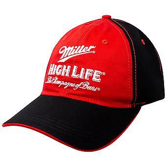 Chapeau réglable en noir et rouge de bière de miller haute vie