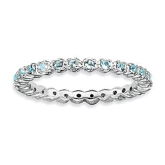 925 Sterling Silver Polished Prong set Patterned Rhodium plated Stackable Expressions Aquamarine Ring Jewelry Gifts for
