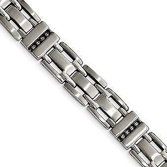 Stainless Steel Brushed and Polished Black CZ Cubic Zirconia Simulated Diamond Link Bracelet 8.5 Inch Jewelry Gifts for