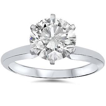 1 3/4ct Solitaire Round Diamond Engagement Ring 14K White Gold