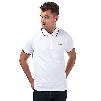Mens Ben Sherman Twin Tipped Polo Shirt In White- Short Sleeve- Ribbed Collar