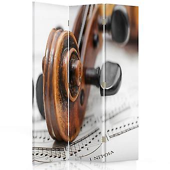 Raumteiler, 3 Panels, Doppelseitig, 360 ° Drehbar, Leinwand, Violine auf Notenblatt