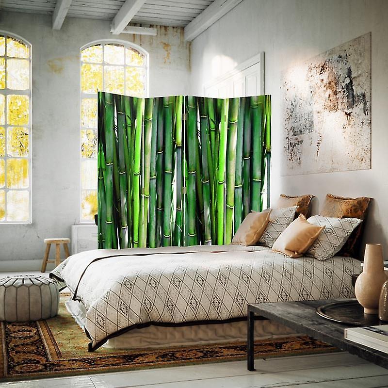 Diviseur de chambre, 4 panneaux, toile, bambou