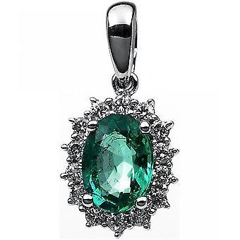 Ædelsten vedhæng diamanter 0,18 CT. Emerald 0,76 CT.