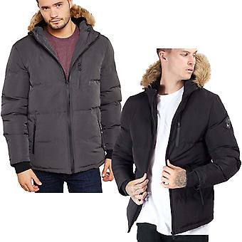 Brave Soul Mens Trail Blazer Long Sleeve Zip Up Faux Fur Hood Padded Jacket Coat