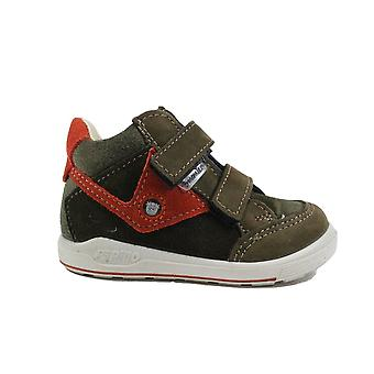 Ricosta Kimo Wide Fit 2431400-590 Green Nubuck Leather Boys Rip Tape Water Resistant Ankle Boots
