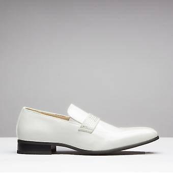 Mister Carlo Skipton Mens Patent Elasticated Loafers White
