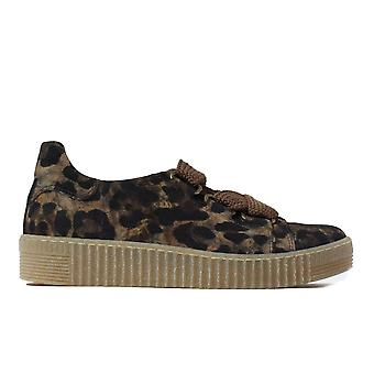 Gabor Willen 330-38 Leopard Print Nubuck Leather Womens Lace Up Casual Trainer Shoes