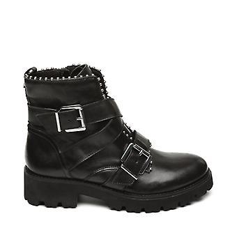 ستيف مادن هوفي السيدات الجلود الكاحل أحذية الأسود