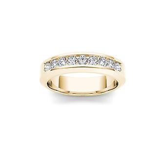 Igi認定ソリッド14kイエローゴールド1.00ctダイヤモンドメン&アポス;sウェディングバンドリング